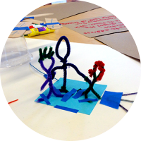 family made from pipe cleaners